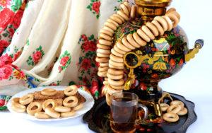 Выездное чаепитие, самовар с баранками